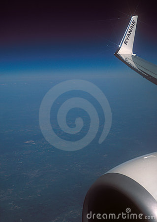 France - April 23, 2011: Wing of a Boeing 737-800 Editorial Image