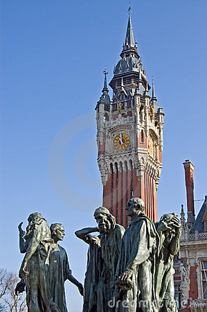 Free France Calais Town Hall With Statue Stock Photo - 4491140