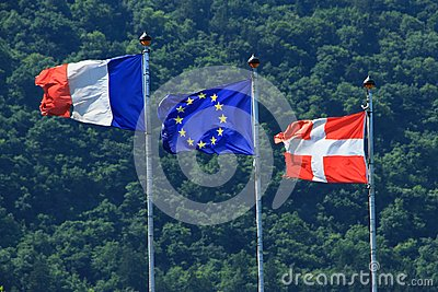 France Evropenian Union Savoy flags