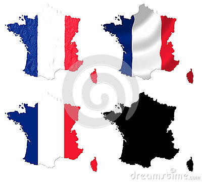 France flag over map