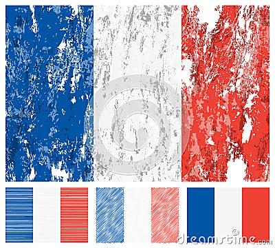 France grunge flag set