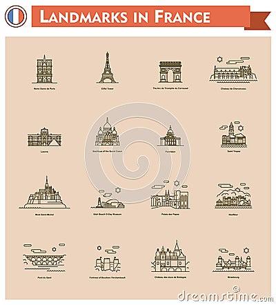 Free France Landmarks Icon Set Stock Images - 51437234
