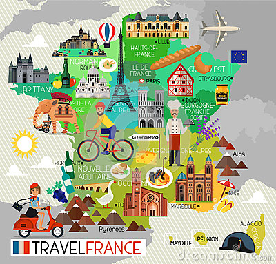 Map Of France Cartoon.France Landmarks And Travel Map France Travel Icons Vector