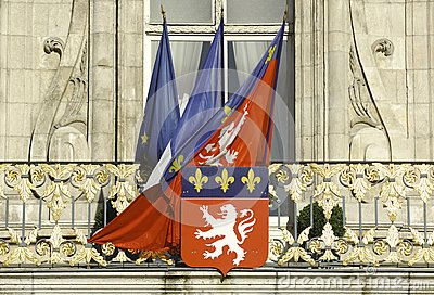 France; Lyon or Lyons: Flags at the city hall