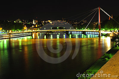 France, Lyon; Night view of the Saone River