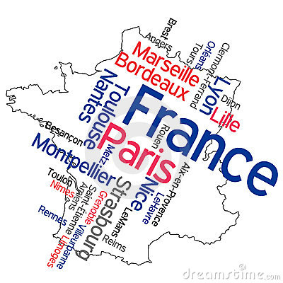 Free France Map And Cities Stock Photography - 15975402