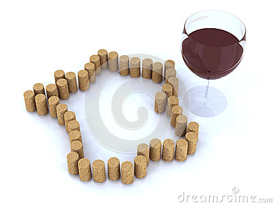 France map with cork and glass of wine