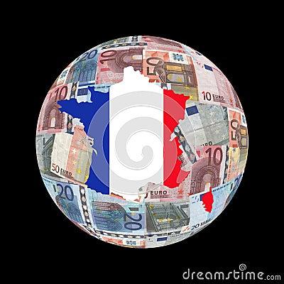 France map euros globe