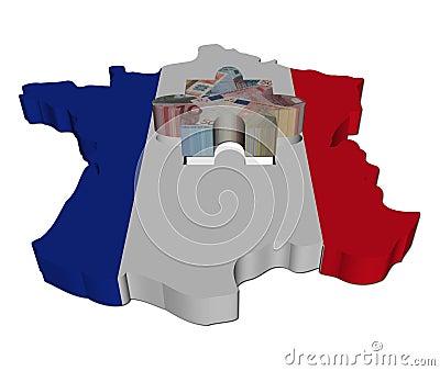 France Map flag with euros jigsaw