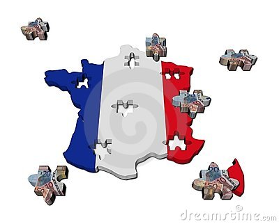 France Map flag jigsaw with euros