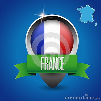 France map and flag with ribbon