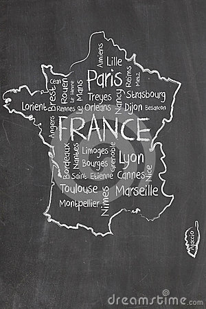 France map and words cloud