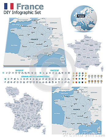 France maps with markers
