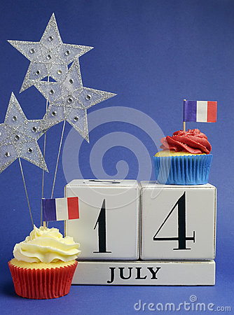 France National holiday calendar, 14 July, Fourteenth of July, Bastille Day - vertical.