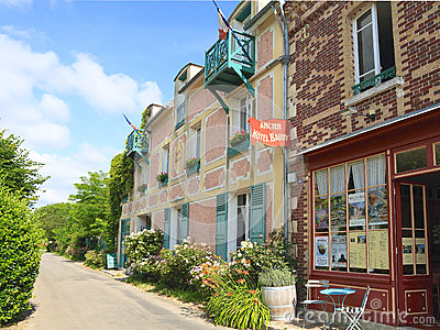 France, Normandy: Old Hotel and Restaurant in Giverny Editorial Photo