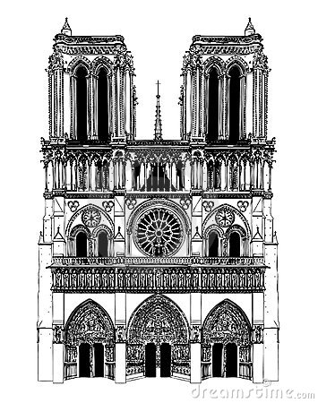 France; Paris; Drawing of Notre Dame