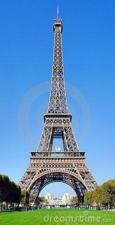 France, Paris: Eiffel tower with a rugby ball