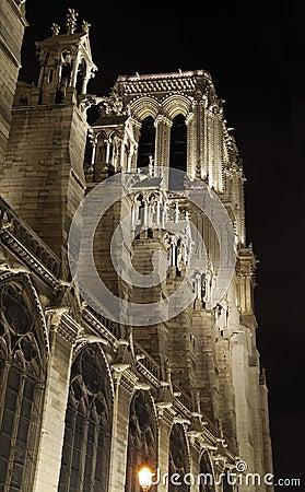 France. Paris. Notre Dame at night.
