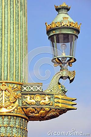 France, Paris: Old lamp-post