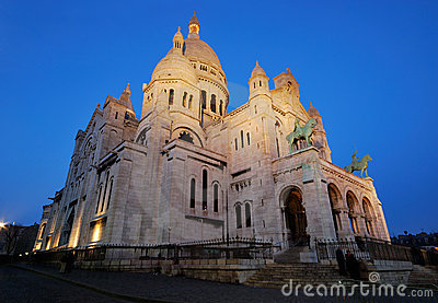 France. Paris. Sacre Coeur at night