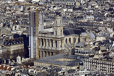 France, Paris; sky city view with church