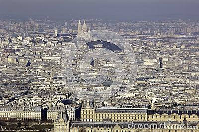 France, Paris; sky city view with  Louvre