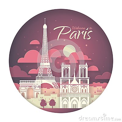 Free France. Paris With The Symbols Of The City - Eiffel Tower, Triumphal Arch, Notre Dame Cathedral. Papercut Style Poster. Royalty Free Stock Photos - 120023768