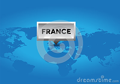 France pointer on world map