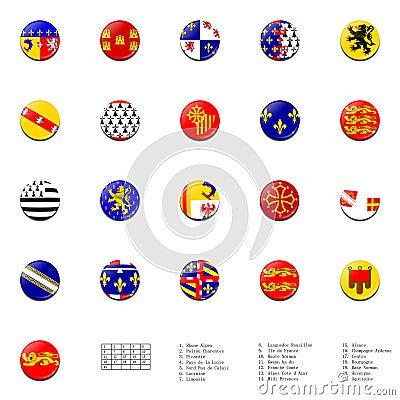 France regions flags ball