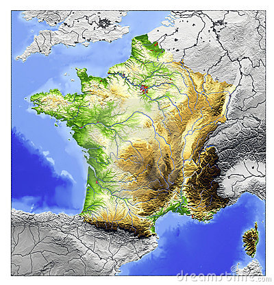 Free France, Relief Map Royalty Free Stock Photography - 3001977