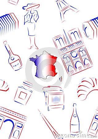 France sights and symbols - seamless