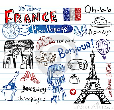 Free France Symbols As Funky Doodles Stock Photography - 51327732
