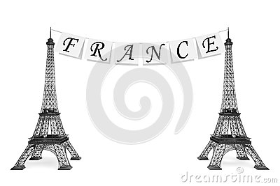 France Tourism Concept. France Sign on the rope with Eiffel Towe