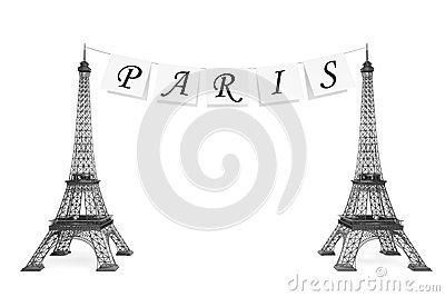 France Tourism Concept. Paris Sign on the rope with Eiffel Tower