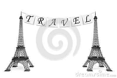 France Tourism Concept. Travel Sign on the rope with Eiffel Towe