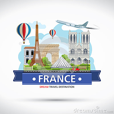 Free France Travel Dreams Destination, France Travel Symbols, Symbols Of France, Landmark. Royalty Free Stock Photo - 57722695
