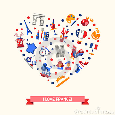 france travel icons heart postcard with famous french. Black Bedroom Furniture Sets. Home Design Ideas