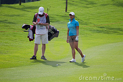 Frances Bondad evaluates her shot, LPGA Malaysia Editorial Stock Photo