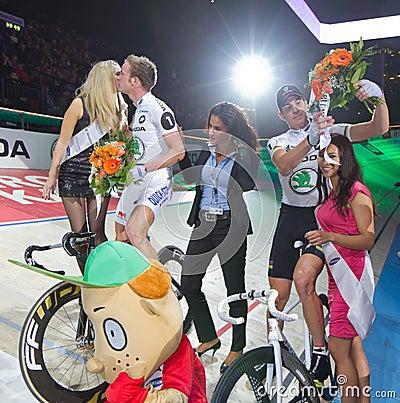 Franco Marvulli Iljo Keisse celebrates victory Editorial Photography