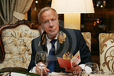 Franco Zeffirelli at a Moscow restaurant Editorial Photo