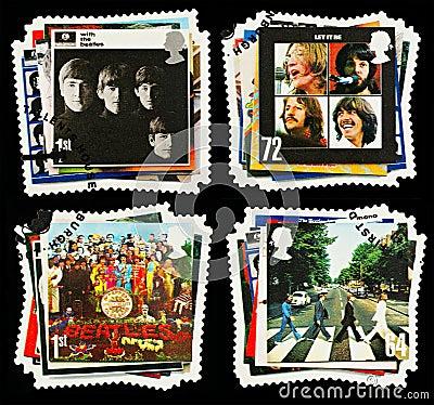 Francobolli del gruppo di schiocco della Gran-Bretagna Beatles