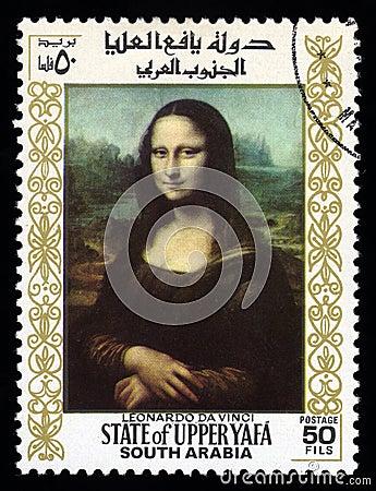 Francobollo del sud dell Arabia Mona Lisa