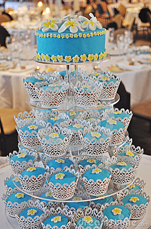 A Frangipani Cupcake Wedding Cake at the Reception
