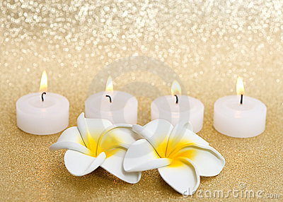 Frangipani spa flowers with candles