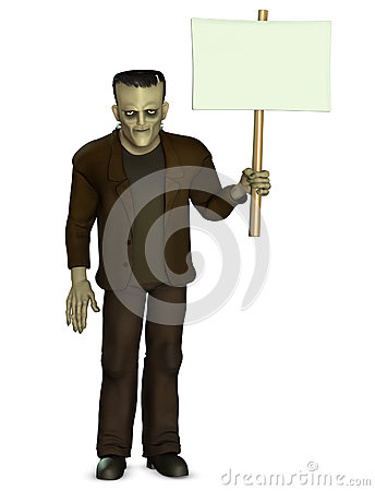 Free Frankenstein Holding Placard Stock Photo - 26840550