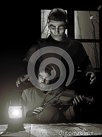 Frankenstein monster and blind man