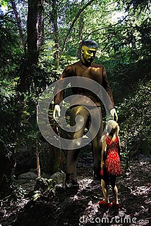 Frankenstein Monster and little girl
