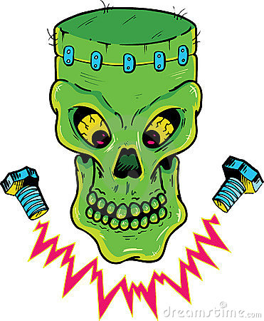 Frankenstein style skull vector illustration