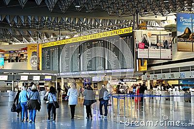 Frankfurt airport terminal 1. Time tablet Editorial Photography