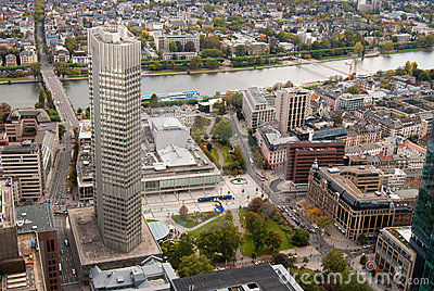 Frankfurt banking district and Main river